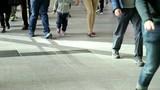 People walking in the pedestrian bridge in Hong Kong city - 185699095