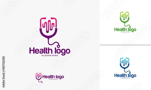 Health logo designs concept, Doctor logo designs with pulse symbol