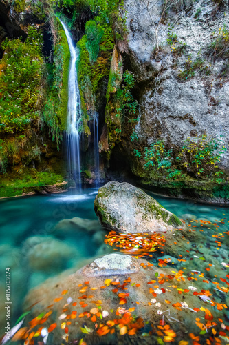 Beautiful waterfall in autumn - 185703074