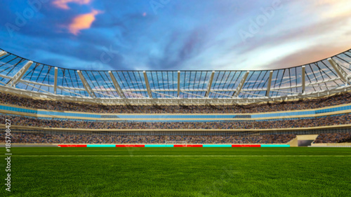 Fototapeta soccer field with lights and spectors panorama 3d rendering