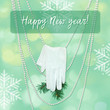 Happy new year - greeting card and background texture. Glove and snowflakes.