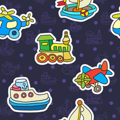 Seamless pattern with colorful childrens toys. Texture for wallpaper, fills, web page background.