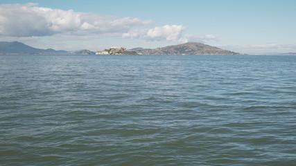 gimbal shot of San Francisco bay from pier