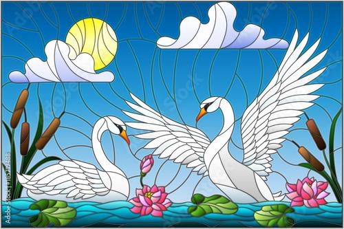 ilustracja-w-stylu-witrazu-z-para-labedzi-kwiaty-lotosu-i-trzciny-na-staw-w-sloncu-niebo-i-chmury