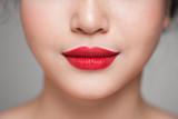 Red Sexy Lips closeup. Make up concept. Beautiful Perfect Lips. - 185731843