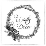 Christmas wreath made from twigs of  vine and with cones and a dog rose. Illustration in sketch style. Vector graphics. - 185733284