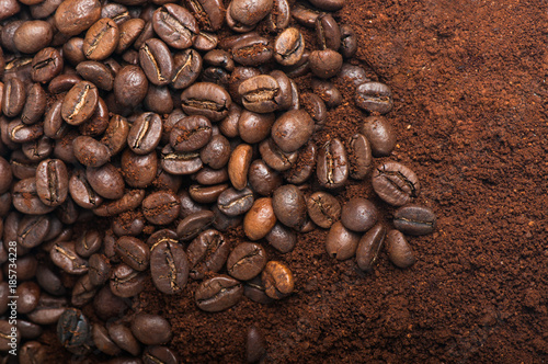 Coffee beans with ground coffee - 185734228