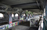 Exterior daytime stock photo of graffiti on walls of abandoned subway system in Rochester New York in Monroe County in Western New York