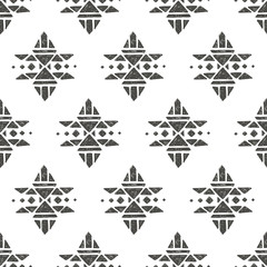 Vector seamless pattern with tribal indian american ornaments. Hand drawn ethnic texture in aztec style. Cute decorative geometric background