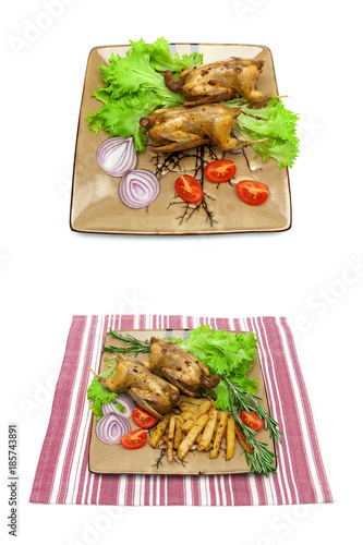 dish with fried woodcock and vegetables isolated on white background