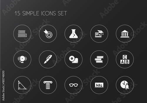 Set of 15 editable science icons. Includes symbols such as a b c block, education computer, lesson and more. Can be used for web, mobile, UI and infographic design.