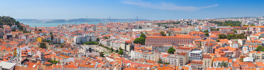 Extra wide panorama. Cityscape of Lisbon