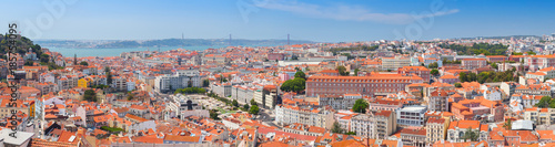 Fridge magnet Extra wide panorama. Cityscape of Lisbon