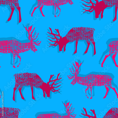 Fotobehang Pop Art seamless pattern with jersey textured pink deers on the cyan background in the style of pop art, vector