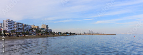 Staande foto Cyprus Panoramic view of Larnaca, Cyprus. Blue sky and white clouds background.