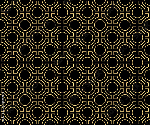 Vector pattern. Geometric seamless simple gold and black modern texture mesh. - 185757812