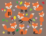 Cute fox vector illustration in various poses with leaves and flower elements. - 185758634