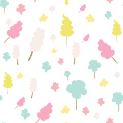 Seamless pattern with cotton candies. Vector illustration.