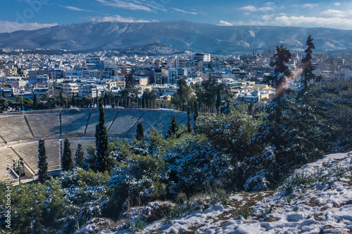 View of Athens from Kalimarmaro stadium in winter