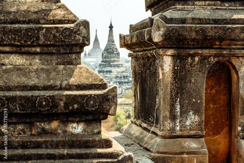 Fotobehang Bruin BAGAN, MYANMAR - March 6, 2017: Details of Shwegu Gyi temple. Shwegu Gyi Phaya closeup