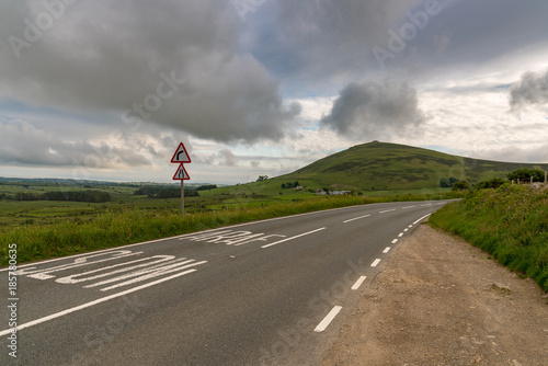 Deurstickers Grijs Welsh landscape on the Llyn Peninsula- clouds and the road to Mynydd Carnguwch, near Trefor, Gwynedd, Wales, UK