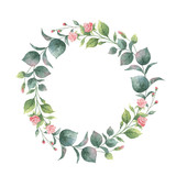 Watercolor vector round wreath with eucalyptus leaves and branches. - 185786274