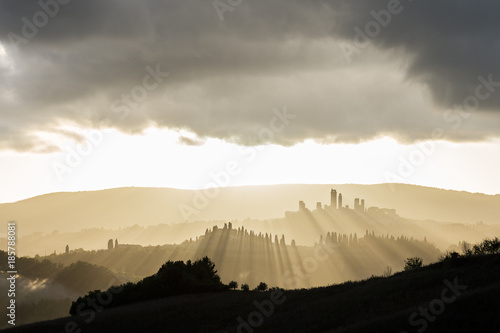 Deurstickers Toscane Lights on... San Gimignano