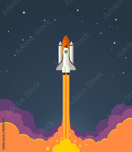 Fototapeta Space rocket launch. Vector illustration of starting space rocket with smoke clouds on dark night sky background.