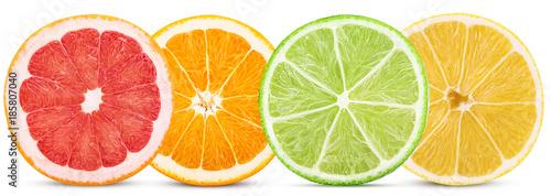Set citrus fruit, cut in half orange, lemon, lime, grapefruit - 185807040