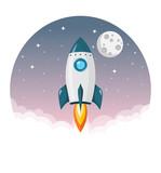 Rakete Startet Ins Weltall Mit Mond Und Sternen Flat Design Icon Wall Sticker