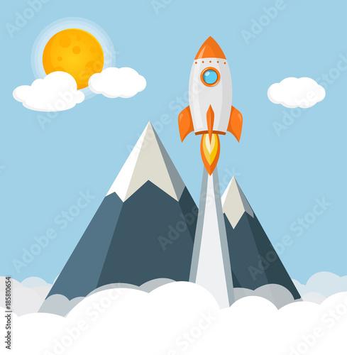 Fototapeta Rakete startet ins Weltall mit Bergen, Wolken und Sonne Flat Design Icon