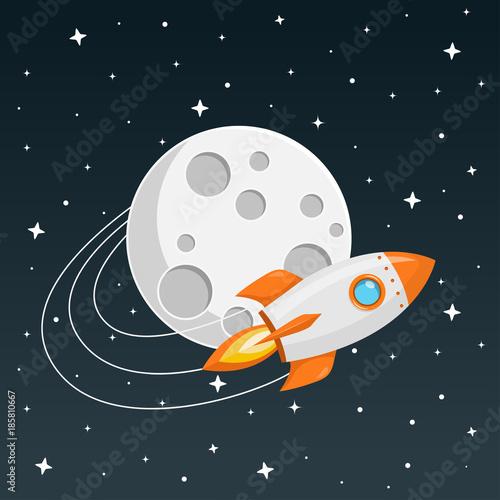 Fototapeta Rakete fliegt um den Mond Flat Design Icon