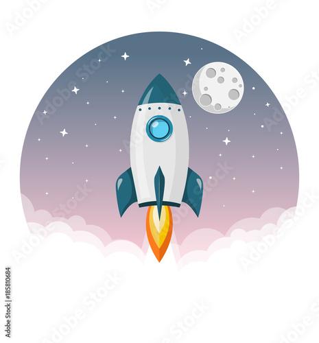 Fototapeta Rakete startet ins Weltall mit Mond und Sternen Flat Design Icon
