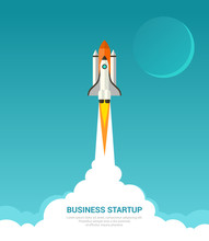 Business Startup Concept  Illustration In Trendy Flat Style Of Rocket Launch   Smoke Clouds And Moon On Blue  Sticker