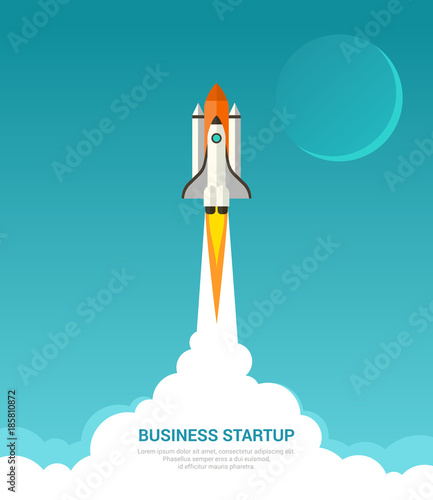 Fototapeta Business startup concept. Vector illustration in trendy flat style of rocket launch with white smoke clouds and moon on blue background.