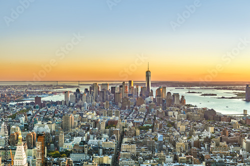 specular sunset skyline of New York