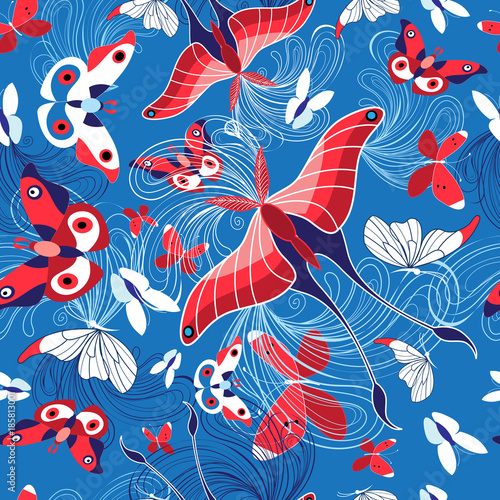 Seamless pattern of beautiful butterflies