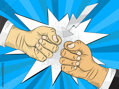 Fotobehang Pop Art Two hands in bumping together, fighting gesture