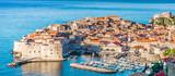 Dubrovnik townscape aerial panorama. / Aerial townscape of Dubrovnik city in Croatia, panorama view - Adriatic Sea scenery.   - 185815280
