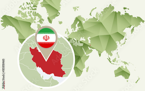 Fotobehang Wereldkaarten Infographic for Iran, detailed map of Iran with flag.