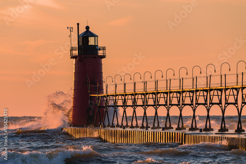 South haven Lighthouse at sunset Poster