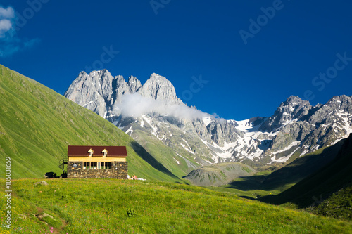 Fotobehang Nachtblauw Mountain camp in the beautiful mountain valley of Chauchi