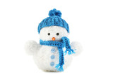 Small snowman toy isolated on white - 185834435
