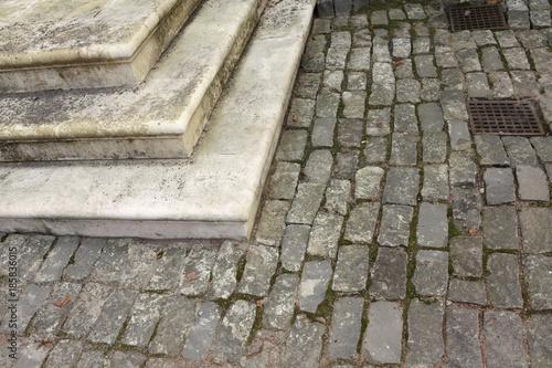 In de dag Stenen Paving stone in an autumn park