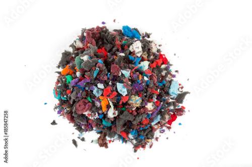 Foto op Aluminium Nasa Pile of multicolored foam pieces on a white background