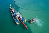 Aerial shot of an industrial barge Miami FL Biscayne Bay - 185848277
