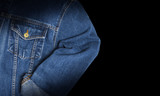Jeans jacket blue color, isolated on black background - 185848474
