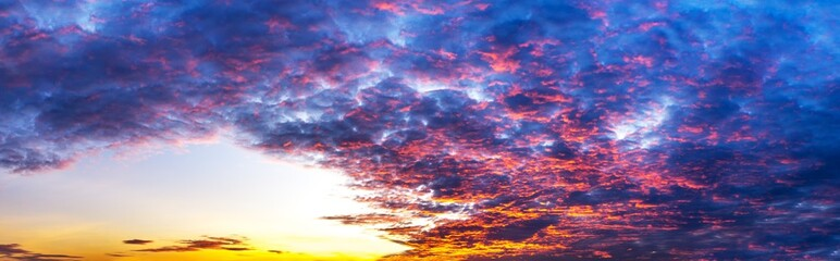 Panorama scene of sky and colorful cloud at twilight time