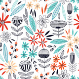 Colorful seamless vector floral pattern - 185855857