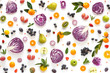 Composition pattern made from fresh vegetables and fruits isolated on white background.  Top view, flat design. Food texture (red cabbage in a cut, plums, grapes, mandarins, pears, apples)